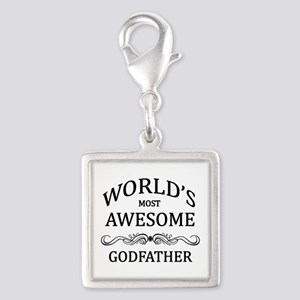 World's Most Awesome Godfather Silver Square Charm