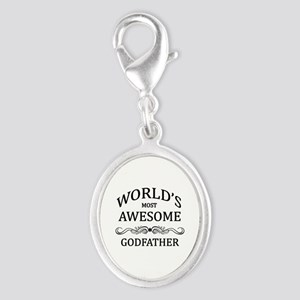 World's Most Awesome Godfather Silver Oval Charm