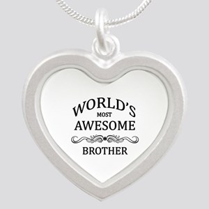 World's Most Awesome Brother Silver Heart Necklace