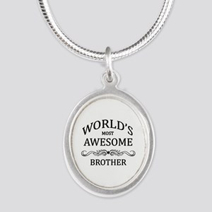 World's Most Awesome Brother Silver Oval Necklace