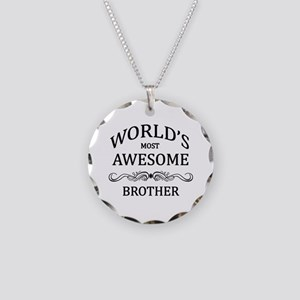 World's Most Awesome Brother Necklace Circle Charm