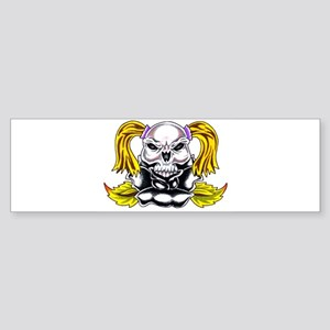 Pony Tail Skull Rose Bumper Sticker
