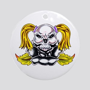 Pony Tail Skull Rose Ornament (Round)