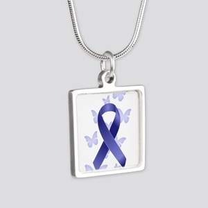 Blue Awareness Ribbon Silver Square Necklace