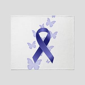 Blue Awareness Ribbon Throw Blanket