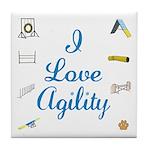 I Love Agility Tile Coaster