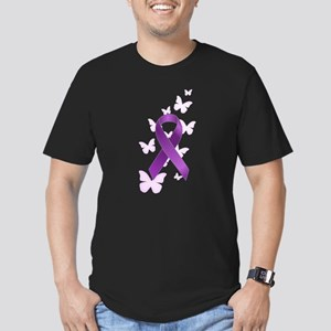 Purple Awareness Ribbon Men's Fitted T-Shirt (dark