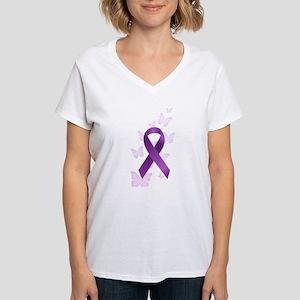 Purple Awareness Ribbon Women's V-Neck T-Shirt