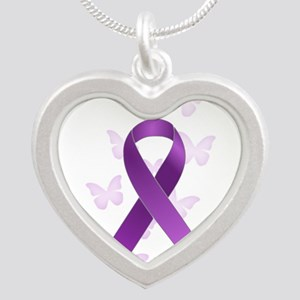 Purple Awareness Ribbon Silver Heart Necklace