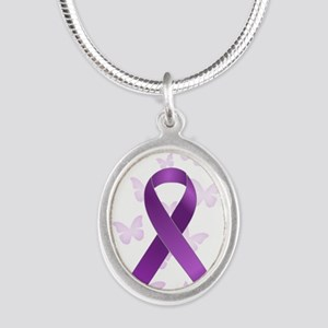 Purple Awareness Ribbon Silver Oval Necklace