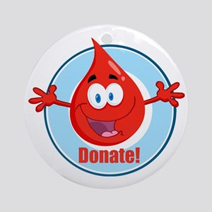 donate blood cartoon Round Ornament