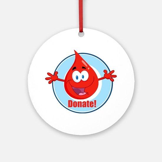 donate blood cartoon Round Ornament