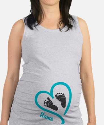 Baby Heart Blue Personalized Maternity Tank Top