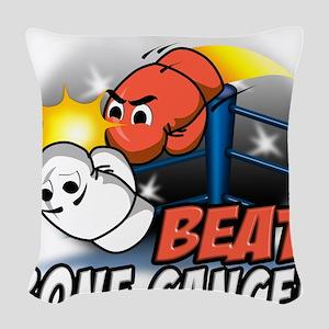 Beat Bone Cancer Woven Throw Pillow