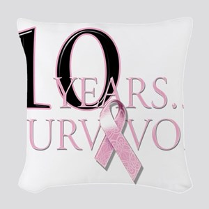 10 Years Breast Cancer Survivor Woven Throw Pi