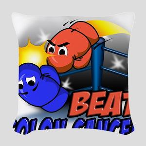 Beat Colon Cancer Woven Throw Pillow