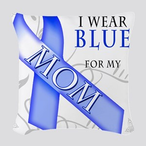 I Wear Blue for my Mom Woven Throw Pillow