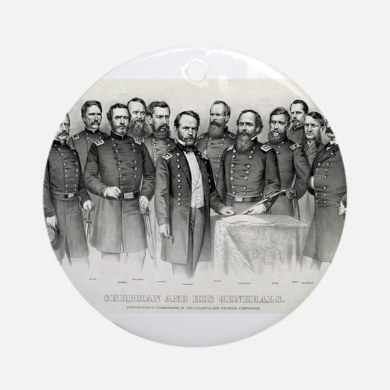 Sherman and his generals - 1865 Round Ornament