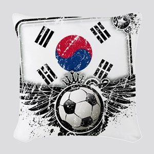 Soccer fan South Korea Woven Throw Pillow