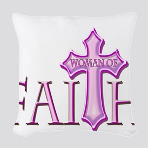 Woman of Faith Woven Throw Pillow