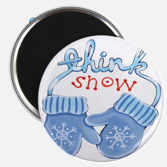 Christmas Blue Cartoon Mittens Think Snow Magnet