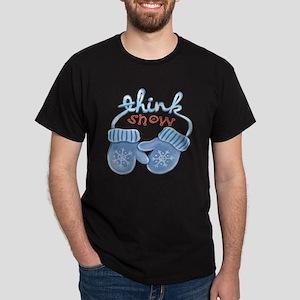 Christmas Blue Cartoon Mittens Think Dark T-Shirt