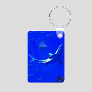 Shark and Stingray Aluminum Photo Keychain