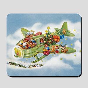 Vintage Christmas, Santa Flying Plane Mousepad