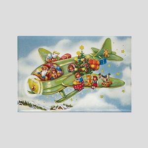 Vintage Christmas, Santa Flying P Rectangle Magnet