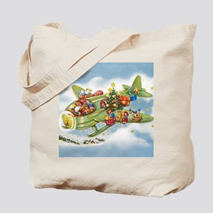 Vintage Christmas, Santa Flying Plane Tote Bag