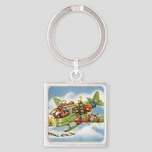 Vintage Christmas, Santa Flying Pl Square Keychain