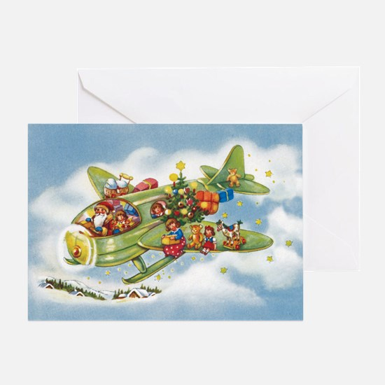 Vintage Christmas, Santa Flying Plan Greeting Card