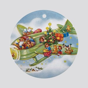 Vintage Christmas, Santa Flying Pla Round Ornament