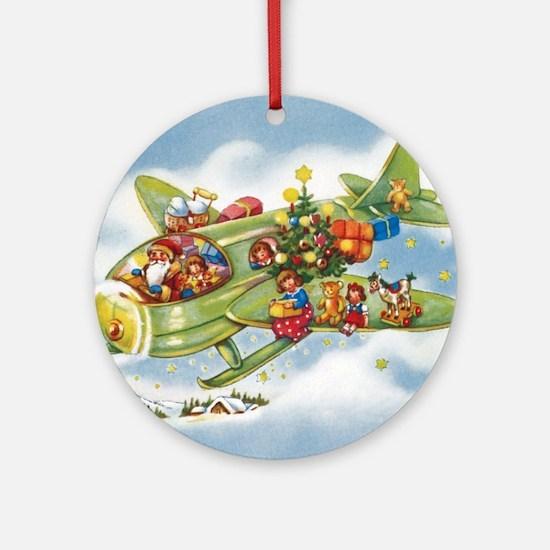 Vintage Christmas, Santa Flying Pla Round Ornament