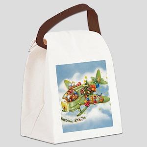 Vintage Christmas, Santa Flying P Canvas Lunch Bag
