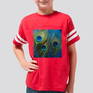 blue peacock feathers Youth Football Shirt