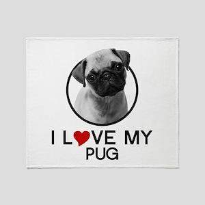 I love My Pug Throw Blanket