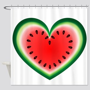 Watermelon Heart Shower Curtain