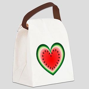 Watermelon Heart Canvas Lunch Bag