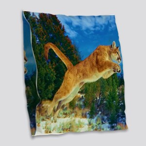 Leaping Cougar Burlap Throw Pillow