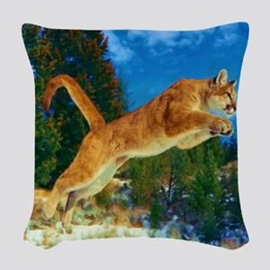 Leaping Cougar Woven Throw Pillow