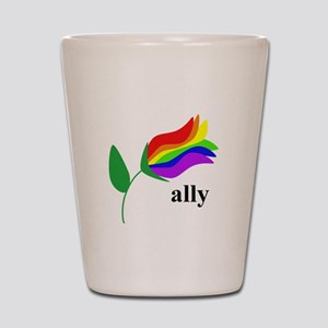 ally flower on clear with black text Shot Glass
