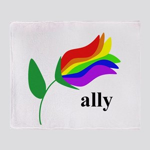 ally flower on clear with black text Throw Blanke