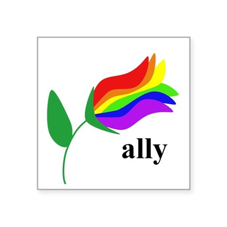 ally flower on clear with black text Sticker