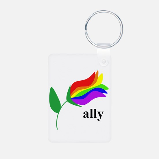 ally flower on clear with black text Keychains
