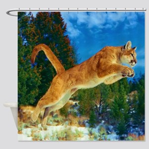 Leaping Cougar Shower Curtain