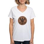 Mimbres Brn Quail Women's V-Neck T-Shirt