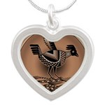 Mimbres Brn Quail Silver Heart Necklace