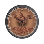 Mimbres Brn Quail Wall Clock