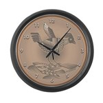 Mimbres Brn Quail Large Wall Clock